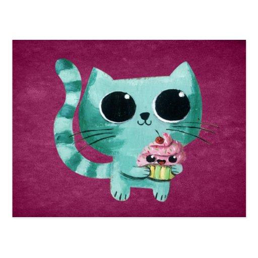 Niedliche Kitty-Katze mit Kawaii kleinem Kuchen Postkarten