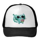 Niedliche Kitty-Katze mit Kawaii kleinem Kuchen Trucker Caps