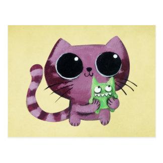 Niedliche Kitty-Katze mit kleinem grünem Monster Postkarte