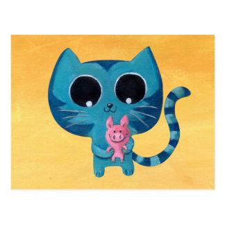 Niedliche Kitty-Katze und Schwein Postkarte