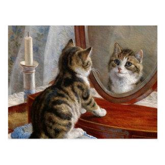 Niedliche Kitty-Katzen-Vintage Malerei vom Frank Postkarte