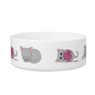 Niedliche Kittykatzennahrungsmittelschüssel mit Wassernapf Für Katzen