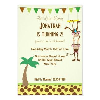 Niedliche kleine Affe-Geburtstags-Party Einladung
