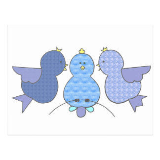 Niedliche kleine blaue Muster-Vögel mit einem Postkarten