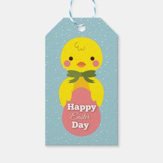 Niedliche kleine Cartoonküken-Ostern-Grüße Geschenkanhänger