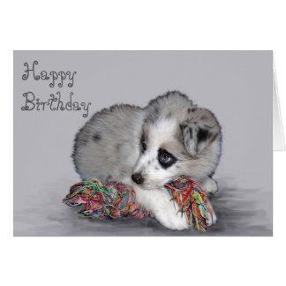 Niedliche kleine Colliewelpen-Geburtstagskarte Grußkarte