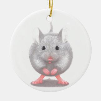 Niedliche kleine graue Maus Keramik Ornament