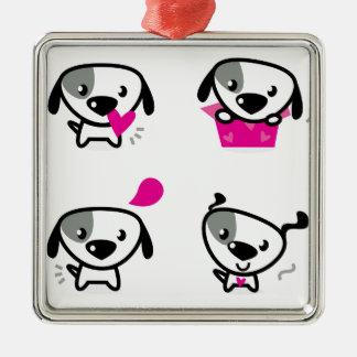 Niedliche kleine Hunde: Rosa, weiß Quadratisches Silberfarbenes Ornament