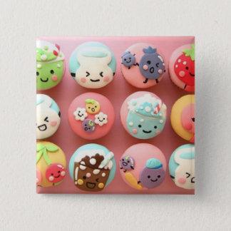 Niedliche kleine Kuchen Quadratischer Button 5,1 Cm