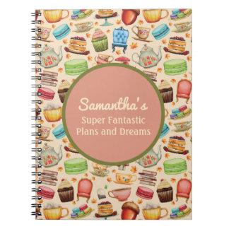 Niedliche kleine Kuchen und Teekanne-Plan-und Notizblock