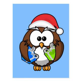 Niedliche kleine lebhafte Weihnachtseule Postkarten