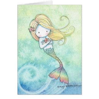 Niedliche kleine Meerjungfrau-Karte durch Molly Grußkarte