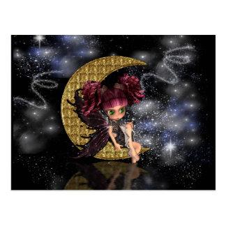 Niedliche kleine Mondfee der magischen Postkarte