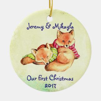 """Niedliche kleine rote Füchse """"unser erstes Keramik Ornament"""