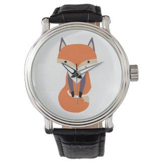 Niedliche kleine roter Fox-Illustration Uhr
