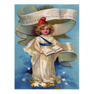 Niedliche kleines Mädchen-Dame Liberty Postkarte