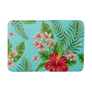 Niedliche korallenrote tropische Hibiskus-Blume Badematte