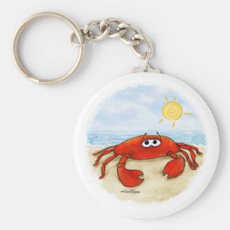 Niedliche Krabbe auf Strand keychain Schlüsselanhänger