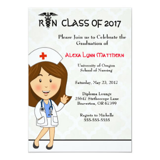 Niedliche Krankenpflege-SchulAbschluss-Einladung 12,7 X 17,8 Cm Einladungskarte