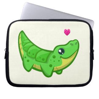 Niedliche Krokodil-Liebe kawaii Cartoonkinder Laptopschutzhülle