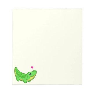 Niedliche Krokodil-Liebe kawaii Cartoonkinder Notizblock