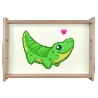 Niedliche Krokodil-Liebe kawaii Cartoonkinder Tablett