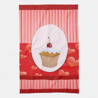 Niedliche Kuchen-Herzen und Streifen Handtuch
