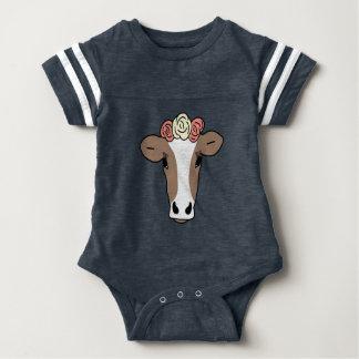 Niedliche Kuh-tragendes Blumen-Stirnband Baby Strampler