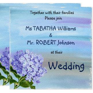 Niedliche künstlerische Art-blaue Blumen, die Quadratische 13,3 Cm Einladungskarte