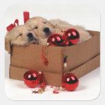 Niedliche Labrador-Welpen mit Weihnachtsflitter Quadratischer Aufkleber
