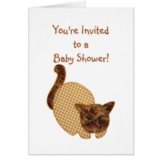 Niedliche Land-Art-Gelb-Katzen-Baby-Dusche Karte