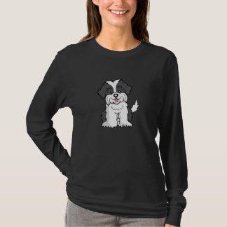 Niedliche lange Hülse Cartoon-HundeShih Tzu T-Shirt