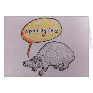 Niedliche Lebewesen-Entschuldigung Grußkarte