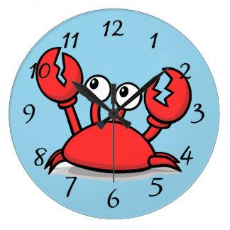 niedliche lebhafte rote Krabbe Große Wanduhr