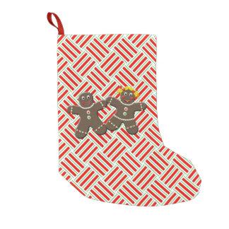Niedliche Lebkuchen-Paar-Weihnachtsplätzchen Kleiner Weihnachtsstrumpf