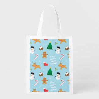 Niedliche Lebkuchensnowman-Weihnachtsmuster-Tasche Wiederverwendbare Einkaufstasche