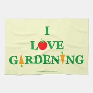 Niedliche Liebe-im Garten arbeitengärtner des Handtuch