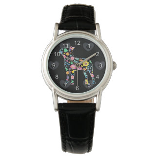 Niedliche Liebe mein Boston-Terrierblumenentwurf Armbanduhr