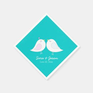 Niedliche Liebe-Vögel auf aquamarinem Blau Serviette