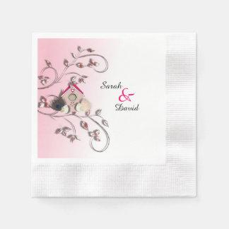 Niedliche Liebe-Vögel im Baum-Vogel-Haus Papierserviette