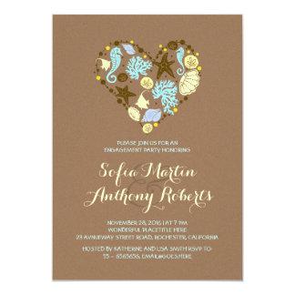 niedliche Liebeherzstrand-Verlobungs-Party 12,7 X 17,8 Cm Einladungskarte