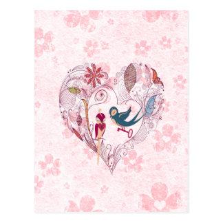 Niedliche liebenswürdige Vögel mit dem Schlüssel Postkarte