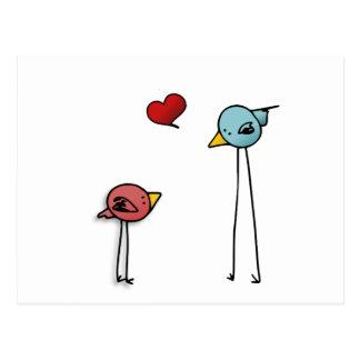 niedliche Liebhaber Liebevogelherz-Cartoon Postkarte