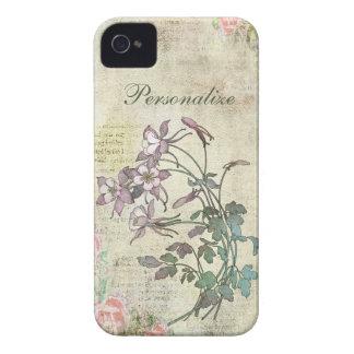 Niedliche lila Blumen auf Vintagem Hintergrund iPhone 4 Hüllen