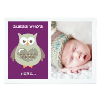 NIEDLICHE LILA EULEN-BABY-MITTEILUNGS-FOTO-KARTE 12,7 X 17,8 CM EINLADUNGSKARTE