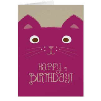 Niedliche lila Katzen-Geburtstags-Karte Karte