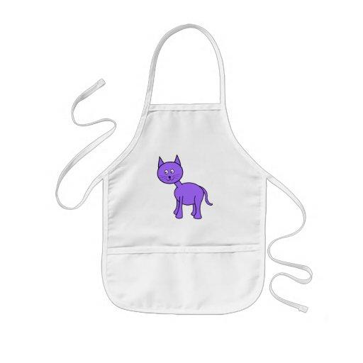 Niedliche lila Katzen-Karikatur Schürzen