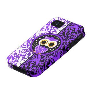 niedliche lila Schnurrbarteule Case-Mate iPhone 4 Hülle