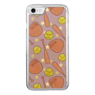 Niedliche lila Softball-Sternchen-Vereinbarung Carved iPhone 8/7 Hülle