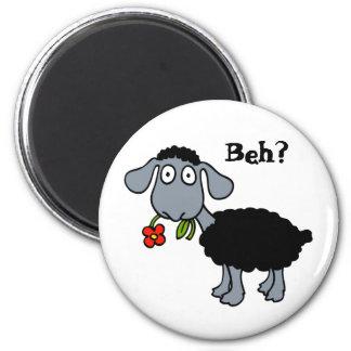 Niedliche lustige Cartoon-schwarze Schaf-Blume Runder Magnet 5,7 Cm